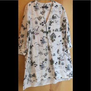 Zara white a-line fun print v-neck tunic dress M